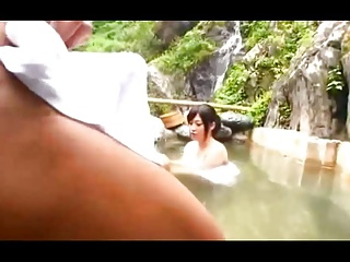 Aroused by boner in the hot spring