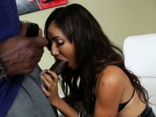 Asian lingerie hoe rides black cock